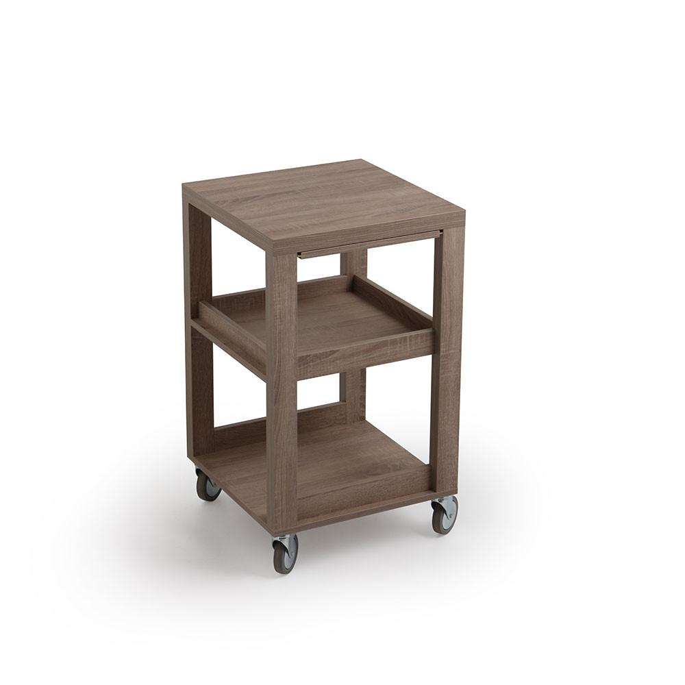 Carrello portavivande e bottiglie in legno finitura rovere - Carrelli porta vivande ...