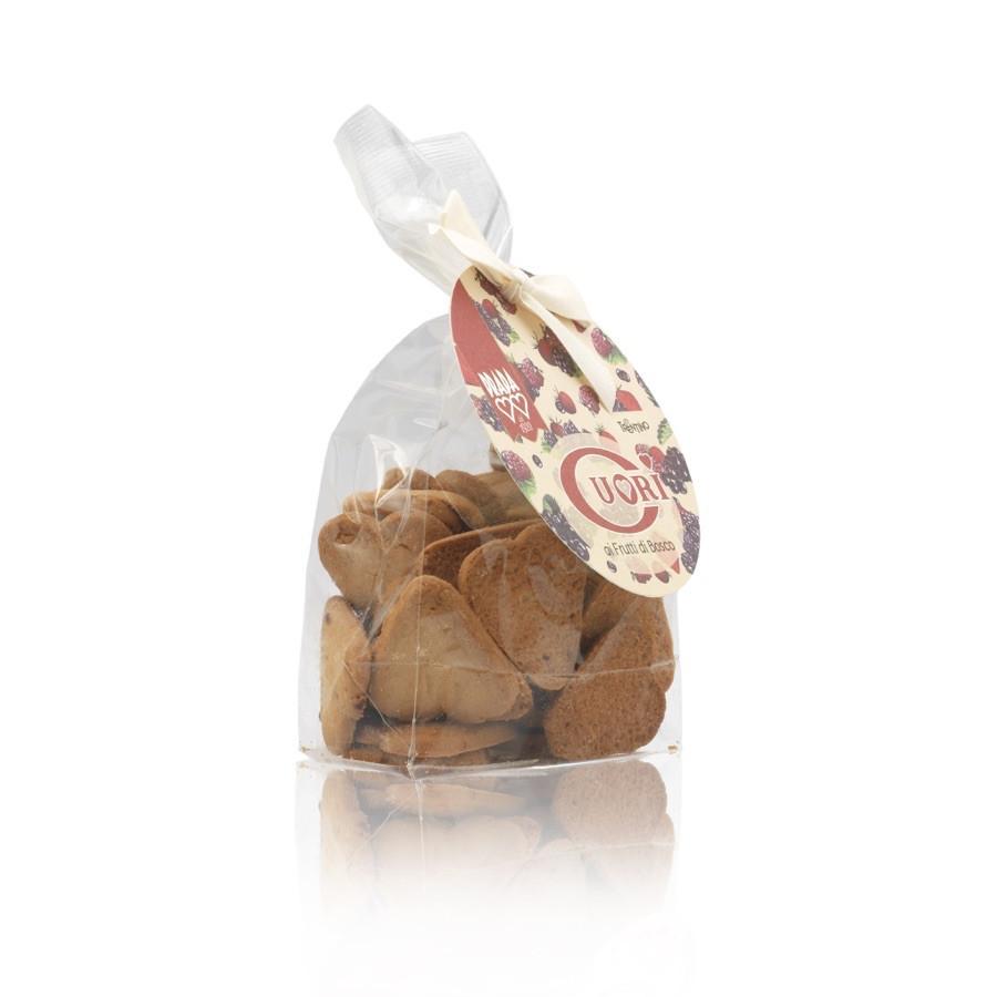 Biscotti frollini cuori ai frutti di bosco