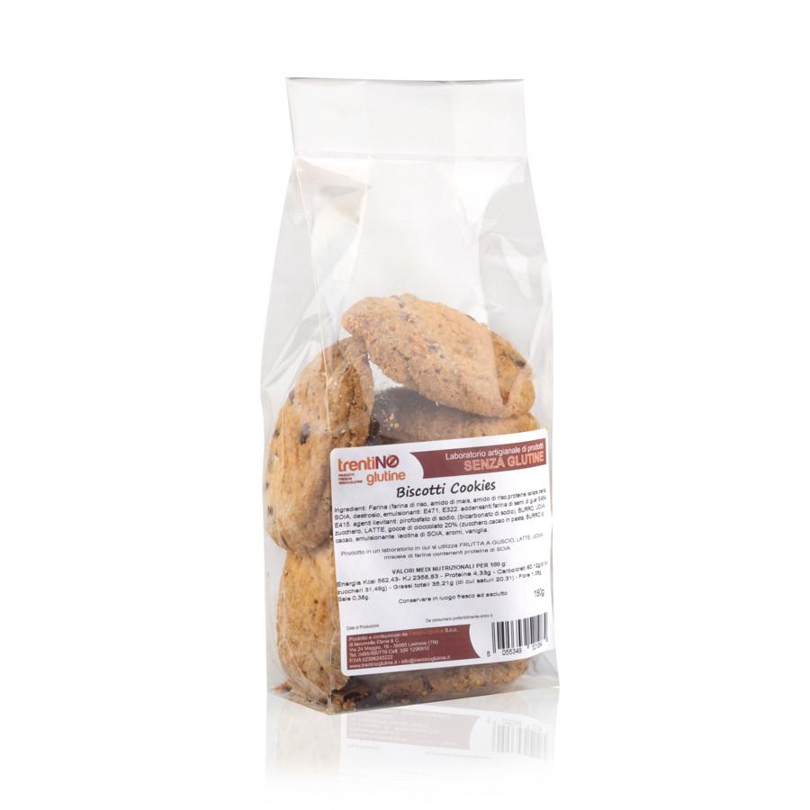 Biscotti cookies senza glutine con cioccolato