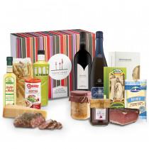 cesto regalo alimentare Gemma dell'Alpe con prodotti tipici trentini vino e spumante