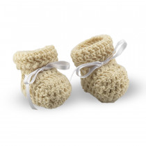 Scarpine lana bianca all'uncinetto primi mesi Filiera della Lana