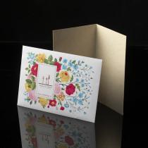 Busta stampa floreale Trentiner 2020 e carta pergamena per biglietto d'auguri