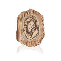 Pirografia Madonna e il bambino